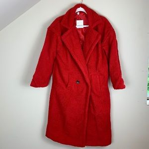 Oversized S comfy red teddy coat